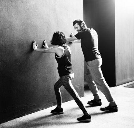 boy gymnast: Couple Exercise Adult Athlete Sporty Training Concept