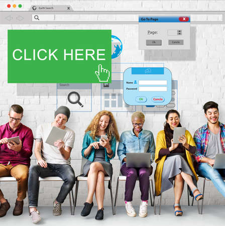 signup: Click Here Membership Register Sign-up Subscribe Concept Stock Photo