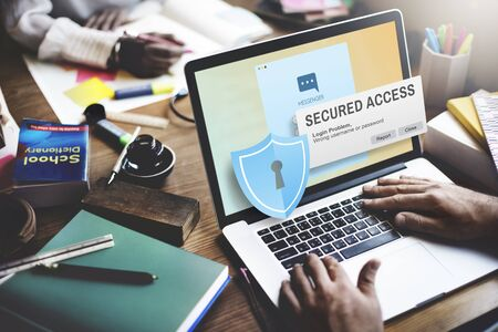 secured: Secured Access Protection Online Security System Concept