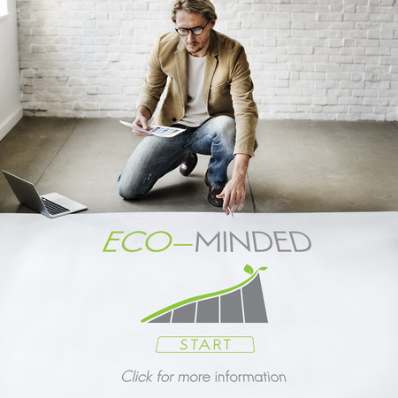 Man on the floor with eco minded concept