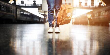 Backpacker Departure Wanderlust Travel Trip Concept Stock Photo