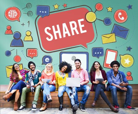 college campus: Share Sharing Portion Media Connection Feedback Concept Stock Photo