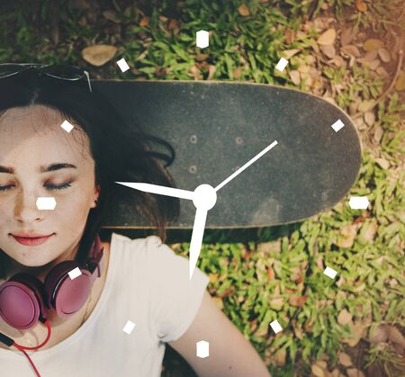 woman lying down: Clock Time Timing Timer Watch Concept
