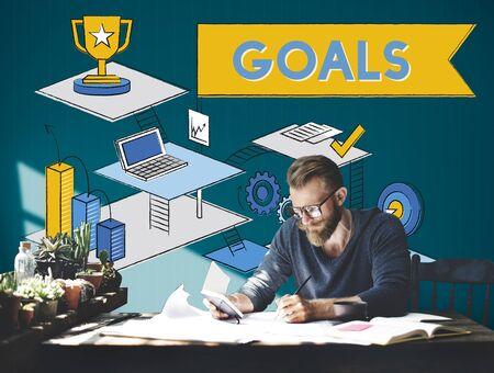 man business oriented: Goals Mission Motivation Aspiration Target Concept