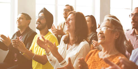 happines: Audience Applaud Clapping Happines Appreciation Training Concept Stock Photo