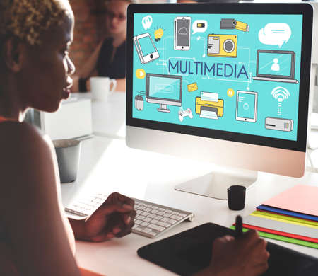 multimedia: Multimedia Communication Connection Technology Devices Concept Stock Photo