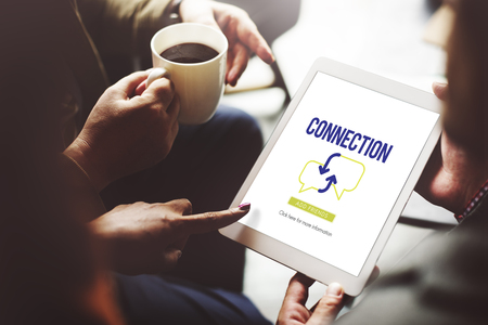 Connection concept on digital tablet Stock Photo