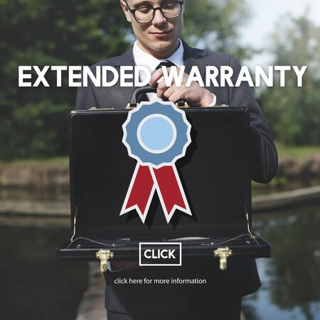 attache case: Extended Warranty Guarantee Long-term Proof Concept Stock Photo