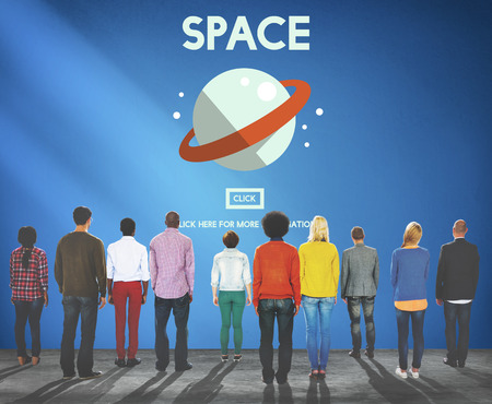 Group of people with space concept Stock Photo