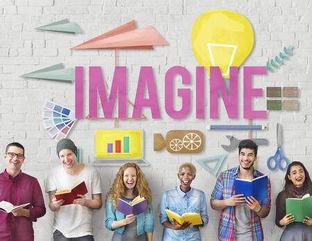 Imagine Creative Dream Expect Ideas Vision Concept Stock Photo