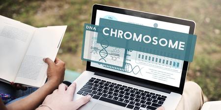 Chromosome concept on a laptop Stock Photo