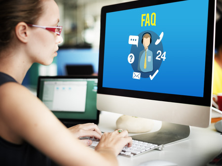 questions: FAQ Enquiry Questions Guide Customer Support Concept Stock Photo
