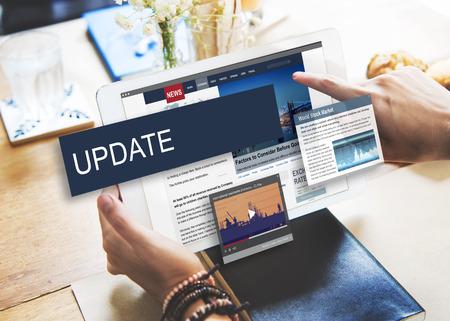Update Trends Report News Flash Concept Foto de archivo