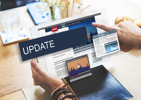 business news: Update Trends Report News Flash Concept Stock Photo