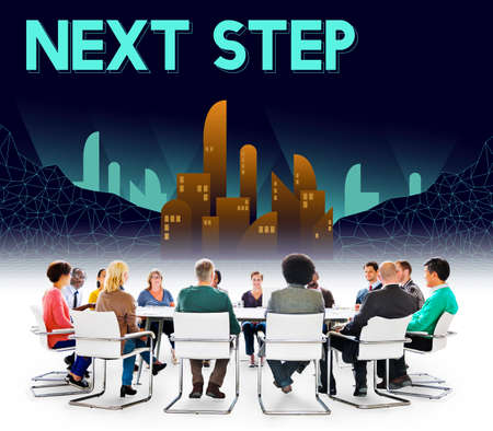 the next step: Next Step Future Structure Urban Concept Stock Photo