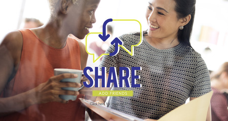 Share concept with two women in background