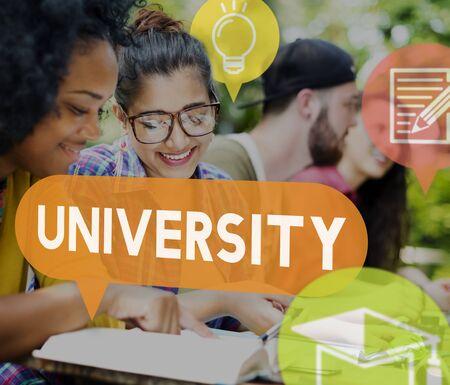 Concepto de la universidad Universidad Investigación Foto de archivo