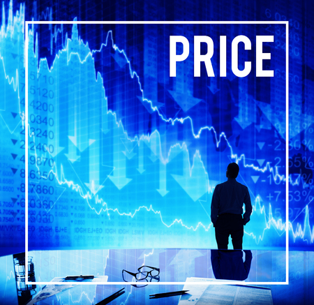 Businessman with price and stock market concept