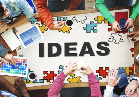 Ideas concept with jigsaw puzzle Stock Photo