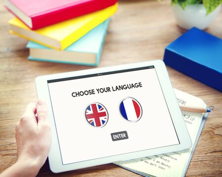 Language Dictionary English French Concept Stock Photo