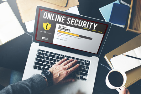 Online security concept on a laptop Stock Photo