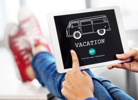 Vacation Traveling Adventure Journey Destination Van Concept Stock Photo