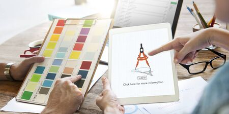 drafting tools: Compas Architecture Drafting Tools Business Concept Stock Photo