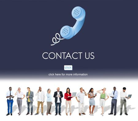 Contact Us Customer Care Assistance Help Service Concept Standard-Bild