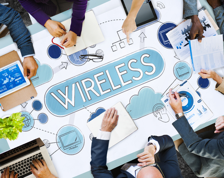 Business meeting with wireless concept