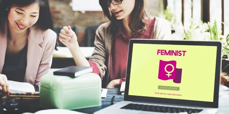 equal to: Woman Power Feminist Equal Rights Concept Stock Photo