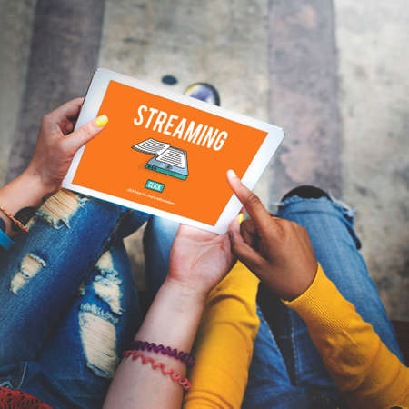 digital device: Streaming Live Broadcast Media Internet Online Networking Concept Stock Photo