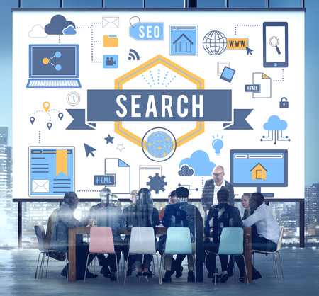 Online search concept in a meeting room Stock Photo