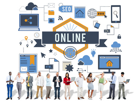 Online concept with group of people Stock Photo
