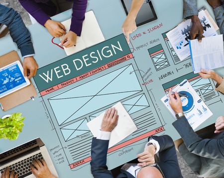 Business meeting with web design concept