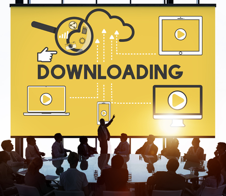 downloading: Downloading Computer Storage Cloud Technology Concept