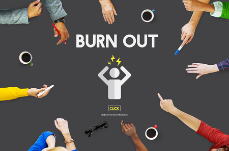 psychologically: Burn out Stress Tired Overworked Concept Stock Photo