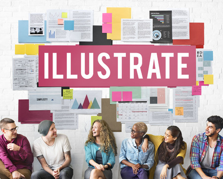 Illustrate with group of people Stock Photo