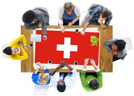 swiss culture: Switzerland National Flag Business Team Meeting Concept Stock Photo