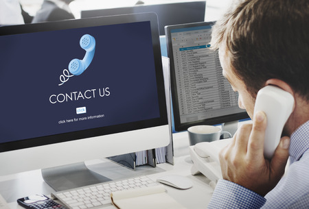 Neem contact met ons Customer Care Assistance Help Service Concept Stockfoto