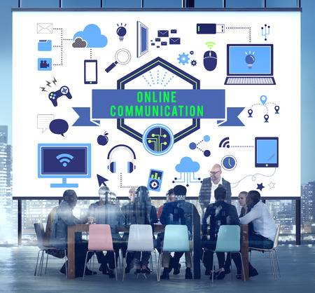 Online communication concept in a meeting room