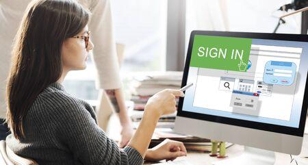 Sign-In di iscrizione Join Registro appartenenza Concetto