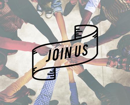 La contratación de unirse a nosotros aplicamos membresía del recluta del equipo Concepto