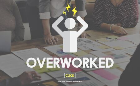 overtime: Overworked Business Overload Overtime Pressure Concept Stock Photo