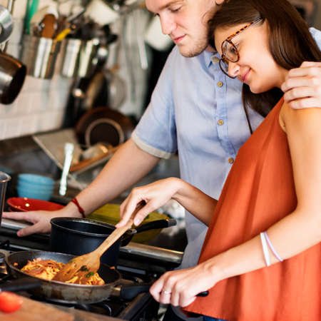 prewedding: Couple Cooking Hobby Lifestyle Concept