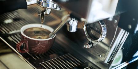 steam machine: Coffee Machine Making Cup Steam Cafe Steam Concept Stock Photo