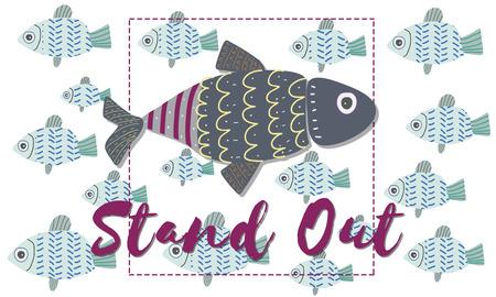 Individualidad única Concepto gráfico diferente pescado