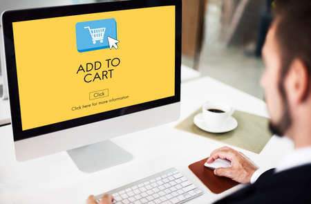 place of research: Add to Cart Commerce Internet Shopping Digital Concept