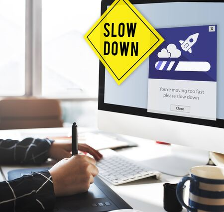 take it easy: Keep Calm Reduce Speed Relax Slow Down Concept Stock Photo
