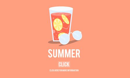 thirsty: Summer Glass Lemonade Drink Graphic Concept Stock Photo