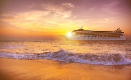 Sunset Twilight Dusk Ocean Wave Cruise Concept